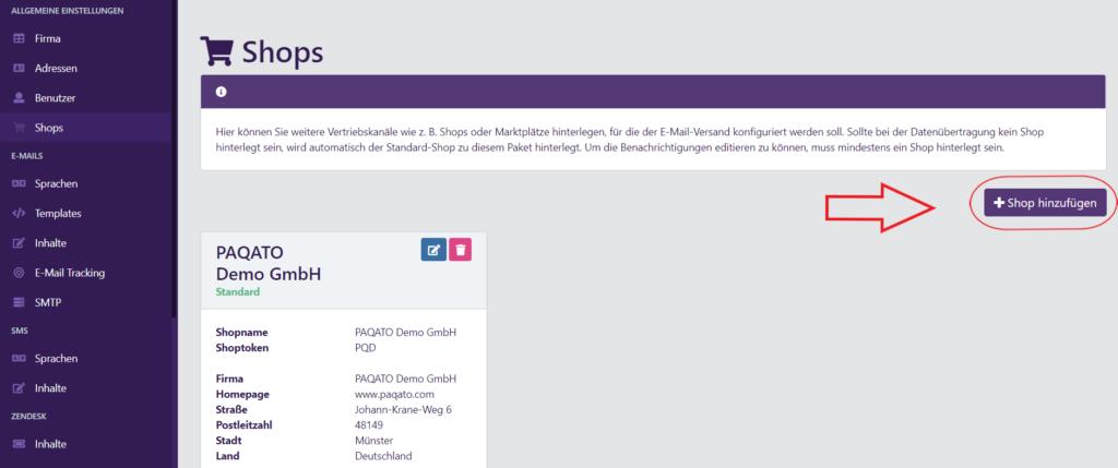 """Screenshot von """"Shop hinzufügen"""" Button - PAQATO"""