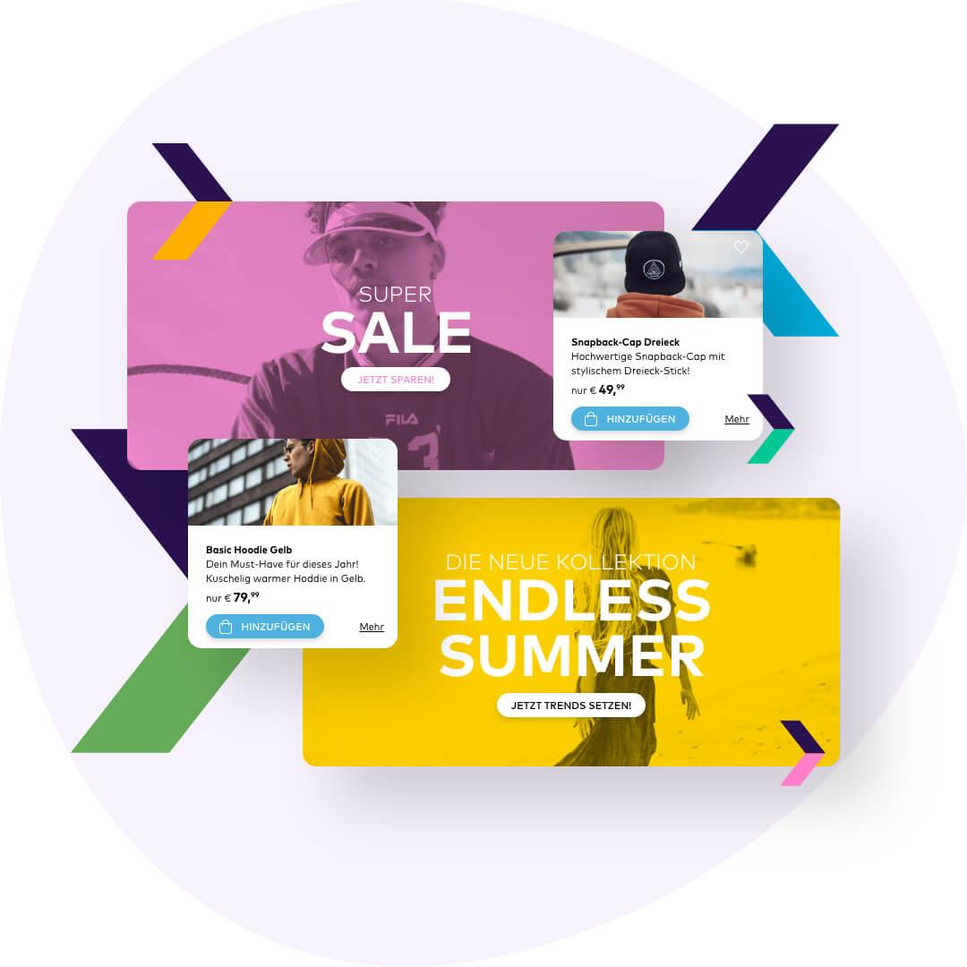 Banner, Werbeaktionen und ergänzende Produkte in deine Versandnachrichten