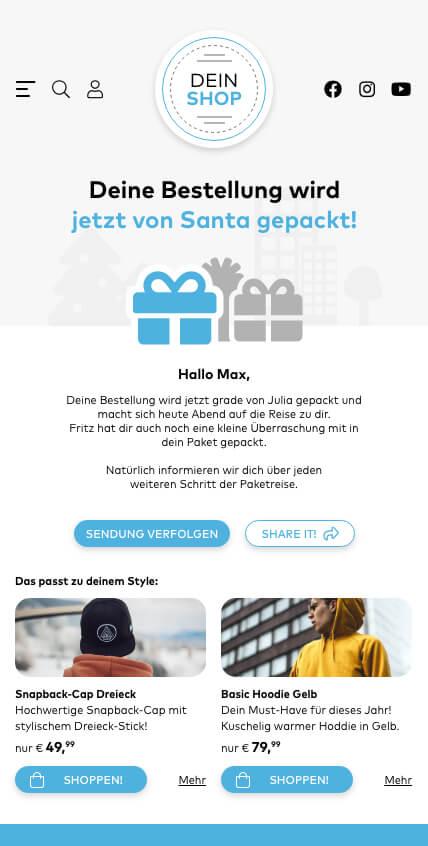 Spoiler: beim Geschenke Versand kommt es wesentlich auf Informationen an!