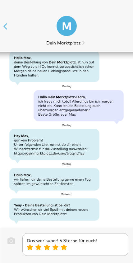 SPEAQ für Marktplätze - ob per E-Mail, SMS, Whatsapp oder Push-Notification.
