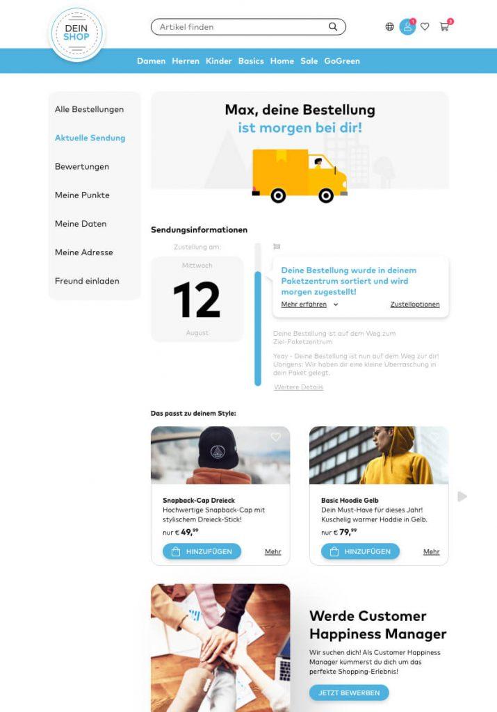 Screenshot - Track & Trace Seite auf dem Tablet